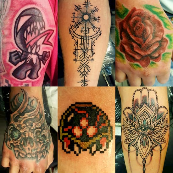 A selection of Liz Tattoo & Piercings creations