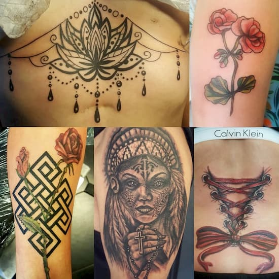 A selection of feminine tattoos