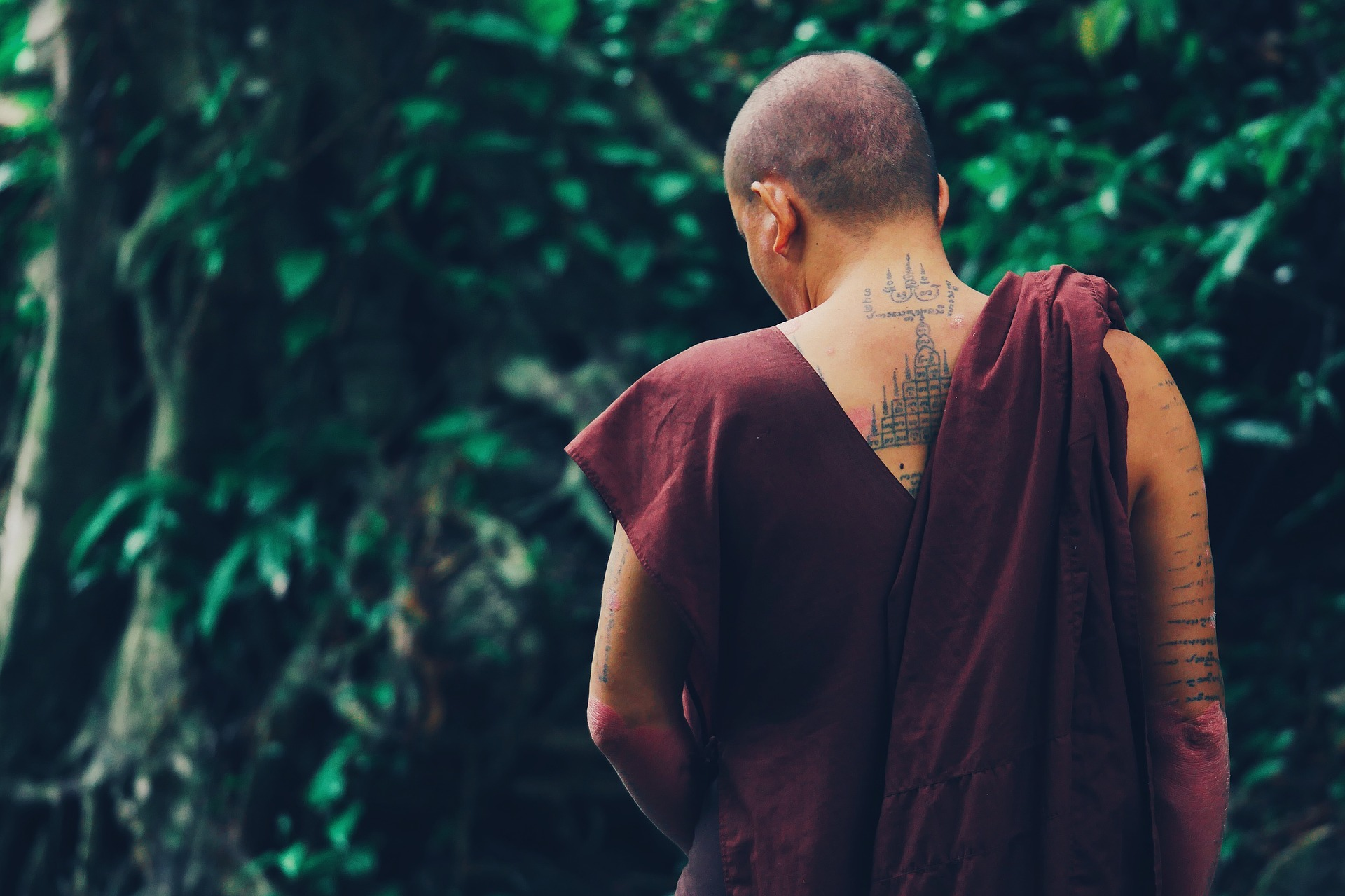 The back of a tattooed monk