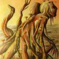 En organisk varelse med svampar och extra lemmar vandrandes i öken