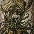 A man with a weird hat and tentacles coming out of the mouth