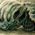 En muterad underlig dödskalle i grönblå nyanser