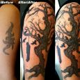 An old tribal covered up with a dead man hanging from a tree with crows