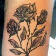 Roses in greyscale on upper arm